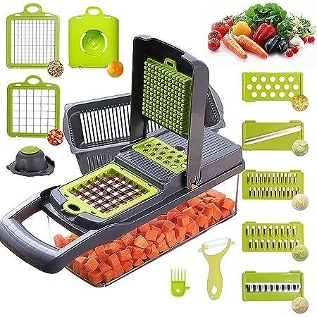 Mandoline Cuisine Multifonction Couper les Legumes 11 en 1, Trancheur de Légumes, Hachoir de Graterie de Cuisine Multifonction Découpe Les Fruits et Les légumes…