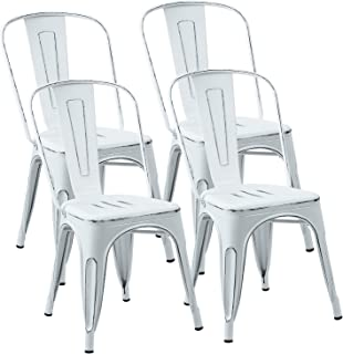 JUMMICO Metal Dining Chair Stackable Indoor-Outdoor Industrial Vintage Chairs Bistro Kitchen Side Chairs with Back Set of 4 (Distressed White)