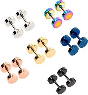 Awinrel Mens Womens Stud Earrings Fake Plugs Cheater Illusion Ear Gauges Tunnel Stainless Steel 6 Pairs