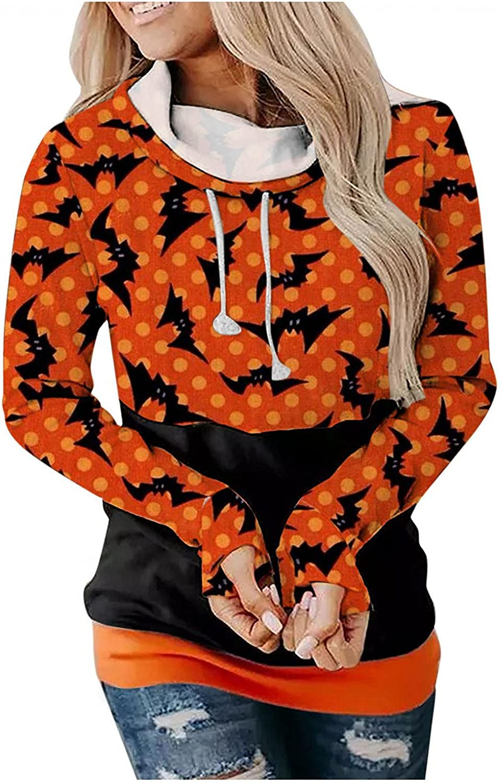 UOCUFY Halloween Hoodies for Women, Womens Lightweight Crewneck Sweatshirts Long Sleeve Shirts Loose Pullover Hoodies