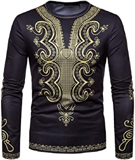 Howely Men Casual African Print Tops O Neck Pullover Short Sleeve T-Shirt