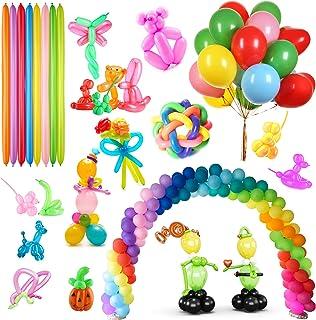 150 Pieces Latex Balloons Include 100 Pieces Colorful Long Balloons and 50 Pieces Round Balloons with a Hand-held Pump DIY...