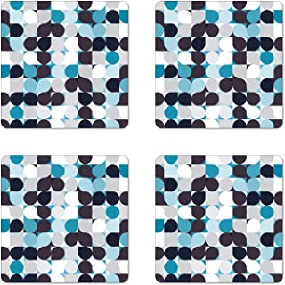 Ambesonne Abstract Coaster Set of 4, Retro Inner Circles Pattern with Squares Mosaic Style Old Fashion Print, Square Hardboard Gloss Coasters for Drinks, Standard Size, Grey Teal