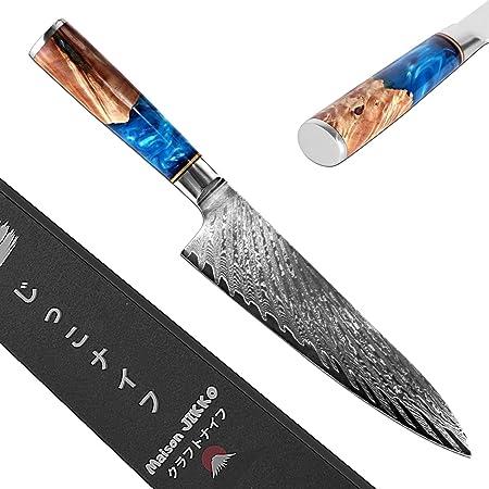 Jikko® Nouveau Couteau de Chef Japonais en Acier Damas Haut de Gamme 33 cm - Couteau de Cuisine avec Manche en Bois d'Érable - Tranchant et dureté d'exception - Fabrication Japonaise - Approuvé HRC60