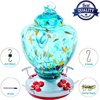 Hummingbird Feeder,Thick Bird Feeder with Color Hand Blown Glass,Leakproof 32 Ounces Nectar Capacity Hummingbird Feeders, Garden Bird Feeders Easy to Clean & Filling,Hanging Hook&Ant Moat