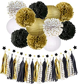 NICROLANDEE Black Gold Party Decorations Tissue Paper Pom Poms Flowers Hanging Paper Lanterns Star Garland Tassel Graduations Wedding Birthday Decor Anniversary Party Supplies 28pcs