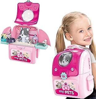 EVER お医者さんごっこ ペットケアセット 猫 ネコ お世話 おもちゃ おままごと・ごっご遊び おでかけ お片付け 女の子 おもちゃ 人気 ごっこあそびセット 女の子 男の子 プレゼント キッズ ペット病院 知育玩具 想像力育ち バックパック付き