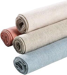 Tissu de couture 4 pièces 4 couleurs Tissu de lin naturel Couleur unie - Tissu de broderie au point de croix - Tissu Aïda ...