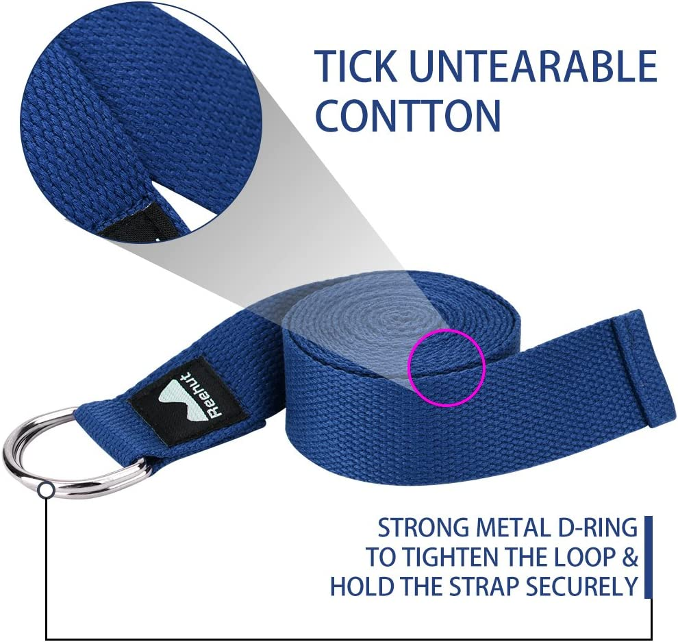 Fitness 1.8m, 2.4m, 3m REEHUT Correa para Yoga - Cintur/ón con Hebilla Metal D-Anillos de Poli/éster Algod/ón Resistente para Ejercicios de Estiramiento Pilates y Flexibilidad