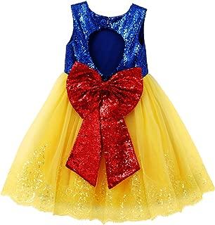Princess Snow White Costume for Girls Dress Up Fancy Halloween Party Kids Birthday Evening Dance Gown w/Headband