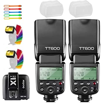 Godox 2X TT600 High Speed Sync 2.4G Wireless Camera Flash Speedlite with Godox X1T-C Remote Trigger Transmitter Compatible for Canon Camera& 2xDiffuser & CONXTRUE USB LED