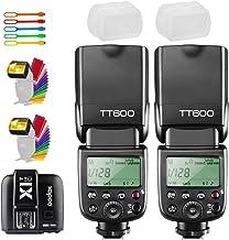 Godox TT600 - 2 cámaras inalámbricas de alta velocidad (0.08 oz) con transmisor de disparador remoto Godox X1T-C compatible con cámara Canon, 2 difusores y USB LED CONXTRUE