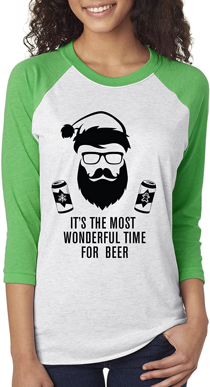 Emdem Apparel It's The Most Wonderful Time for Beer Santa Funny Christmas Baseball T Shirt