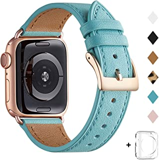 Bestig Band Compatible for Apple Watch 38mm 40mm 42mm 44mm, Genuine Leather Replacement Strap for iWatch Series 5/4/3/2/1, Sports & Edition (Tiffany Blue Band+Rose Gold Adapter, 42mm 44mm)