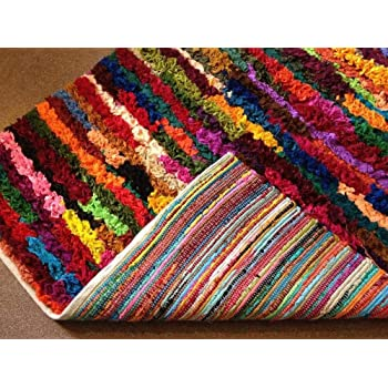 Rainbow Eco Friendly Rag Rug Hand Loomed with Multi Colour Recycled Material Medium