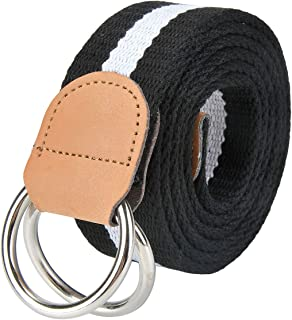 Faleto Mens 51 inch Double D-Ring Canvas Web Belt Casual Stripe or Solid Pattern