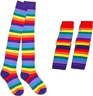 – Calcetines largos para mujer, arco iris por encima de la rodilla y brazo, sin dedos, con rayas multicolor