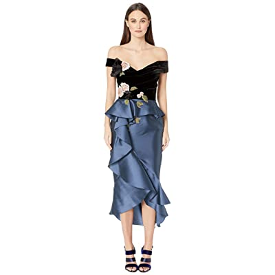 Marchesa Mikado Off the Shoulder Cocktail Dress with Draped Bodice with 3D Fabric Flowers (Smokey Blue) Women