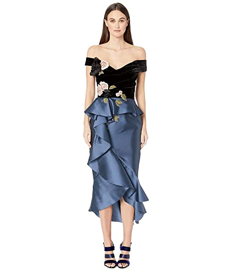 Marchesa Mikado Off the Shoulder Cocktail Dress with Draped Bodice with 3D Fabric Flowers