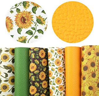 David Angie Sunflowers Printed Faux Leather Sheet Litchi PU Synthetic Leather Sheet Assorted 6 Pcs 7.9