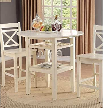 Knocbel Farmhouse Counter Height Bar Table, Kitchen Dining Room Wooden Round Dining Table with 2 Drop Leaves, Stemware Rack &
