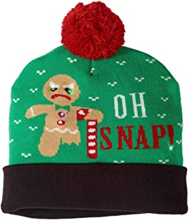 2fb88d4749ff92 Mens Oh Snap Christmas Holiday Stocking Cap Light Up Gingerbread Man Beanie  Hat