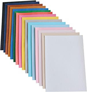 16 Pieces A5 Size Solid Color 1.2MM Thickness Litchi Grain Texture Synthetic Faux Leather Fabric Sheets Cotton Back for Making Hair Bows, Earrings, Placemats, 16 Color Each Color One Sheet