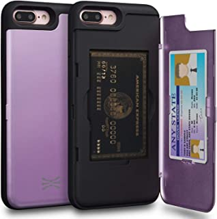 TORU CX PRO iPhone 8 Plus Wallet Case Purple with Hidden Credit Card Holder ID Slot Hard Cover & Mirror for iPhone 8 Plus/...
