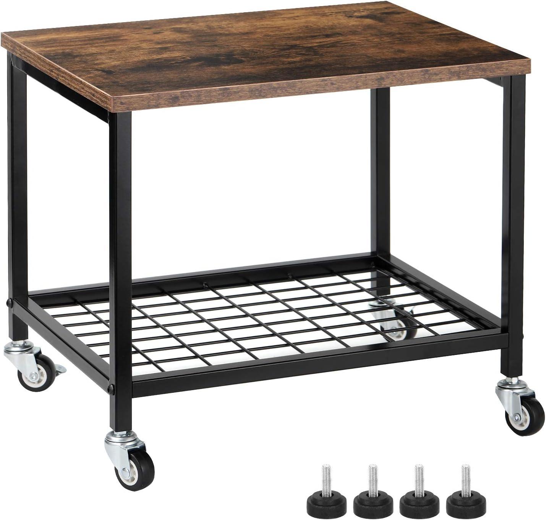 Under Desk Printer Stand, 2 Tier Printer Cart Rack with Storage Shelf, Lockable Wheels, Metal Frame, Industrial Rolling Printer Table Stand for Office, Home, Scanner, Printer - Rustic Brown
