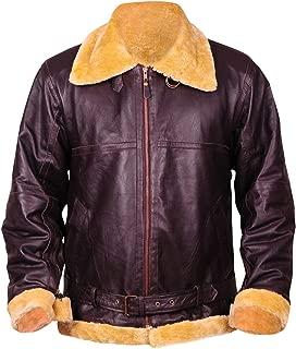 Tom Hardy Dunkirk Farrier B3 Shearling Fur Brown Bomber Aviator Pilot Leather Jacket