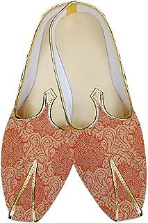 INMONARCH Mens Orange Wedding Shoes Partywear MJ014843