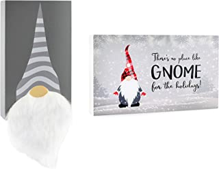 Decorae Christmas Gnome Wood Signs (Set of 2); Tomte Decorative Box Style Plaques Wall Decor