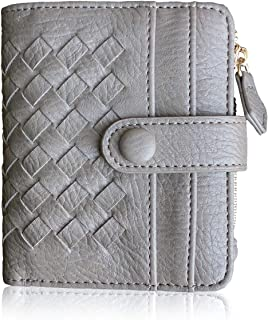 TOPKULL Womens Wallet RFID Small Compact Bifold Leather Pocket Wallet,Ladies Mini Zipper Coin Purse (Gray)