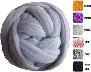 MLMGUO Giant Merino Wool Yarn Chunky Arm Knitting Super Soft Wool Yarn Bulky Wool Roving for Chunky Knitting Blanket Light Gray 8 lbs