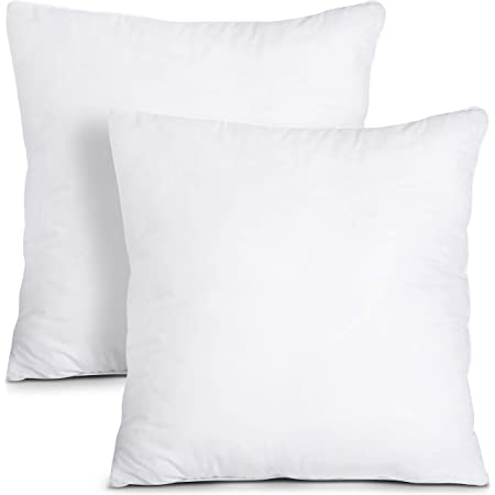 Amazon Com Oubonun 16 X 16 Pillow Inserts Set Of 2 Throw Pillow Inserts With 100 Cotton Cover 16 Inch Square Interior Sofa Pillow Inserts Decorative Pillow Insert Pair White Couch Pillow Kitchen Dining