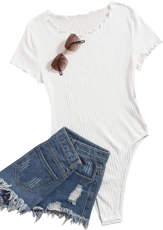 ROMWE Women's Basic Ribbed Knit Short Sleeve Lettuce Trim T Shirt Bodysuit