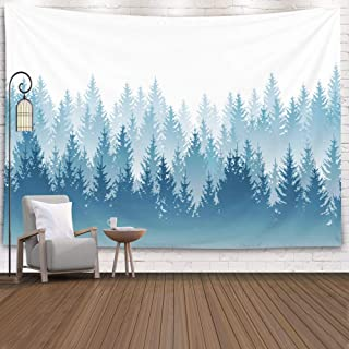 EMMTEEY Tapestry Mountain,Tapestries Décor Living Room Bedroom for Home Inhouse by Printed 80x60 Inches for Forest Landscape with Detailed Blue Silhouettes of coniferous Trees Pattern,White Blue