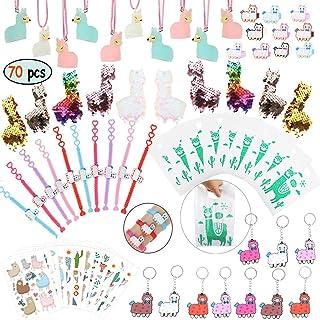 Llama Party Favors Supplies - Llama Bracelet Ring Necklace Keychains Hair Clips Puffy Sticker Gift Bag Alpaca Toys Kids Bi...