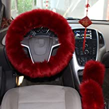 1 Set 3 Pcs Steering Wheel Cover Faux Wool Hand Brake Set Warm Winter (Wine Red)