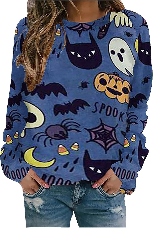 Halloween Shirts for Women Loose Fit Fall Tops Long Sleeve Tees Fashion Print Sweatshirt Comfy O Neck Blouse
