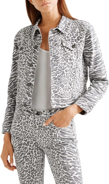 Current Elliott Baby Trucker Leopard-Print Crop Women's Denim Jacket – 2 (Med)