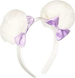LOLSnow Angel Faux Fur 3 Pom with 2.5 Satin bow Headband 1/2 Thickness