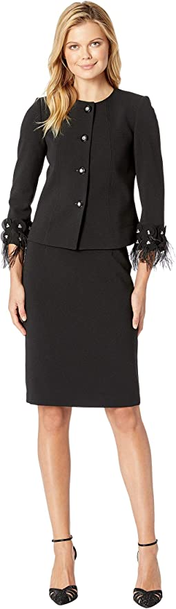 Round Neck Jeweled Front Snap Feather Cuff Skirt Suit