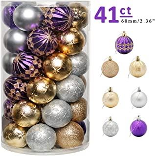 """CHICHIC 41ct 2.36"""" Christmas Ball Ornaments Christmas Tree Balls Decorations Shatterproof Christmas Ornaments Bulbs Set for Holiday Wedding Party Decoration Ornament Hooks Included, Gold Silver Purple"""
