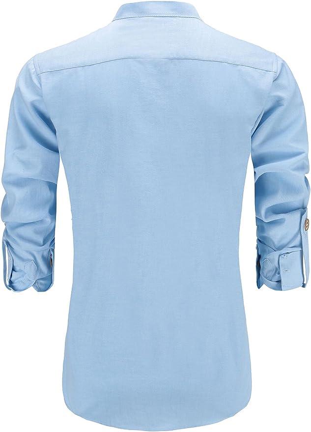 Jeetoo - Camisa Oxford de manga larga para hombre