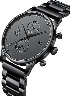 Montre Homme Mode Sport Montres Imperméables avec Chronographe Maille Acier Inoxydable Montre-Bracelet Analogique Date