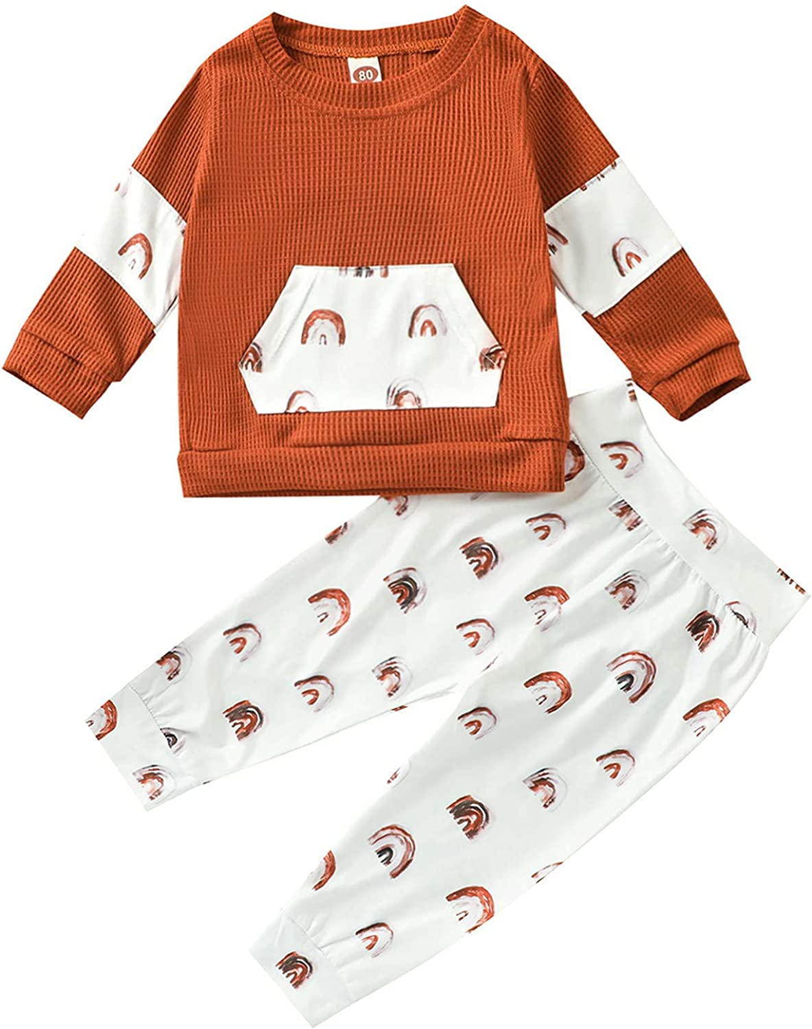 Toddler Infant Baby Boy Girl Outfits Long Sleeves Pullover Tops + Rainbow Print Pants 2Pcs Fall Winter Clothes