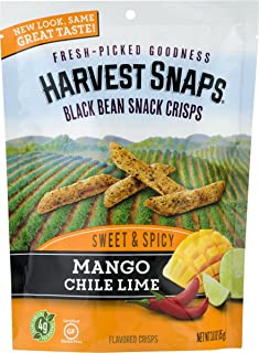 Harvest Snaps Black Bean Snack Crisps, Mango Chile Lime, deliciously baked and crunchy veggie snacks with plant protein and fiber, 3-Ounce Bag (Pack of 12)