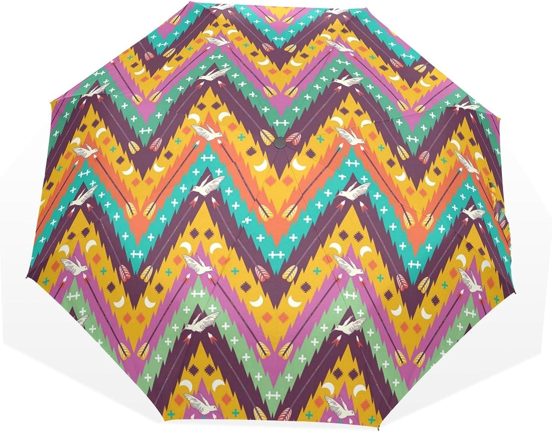 GUKENZ colorful Aztec Geometric with Birds and Arrows Travel Umbrella Lightweight AntiUV Sun Rain Umbrella for Men Women and Kids, Windproof Folding Compact Umbrellas