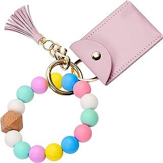 Silicone Key Ring Bracelet, UpUDo Womens Keychain Wristlet with Card Wallet, Large keyring Bangle for Car Keys